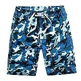 Echinodon Jungen Badehose Badeshorts Camouflage Sweatshorts Urlaub Strand-shorts Blau