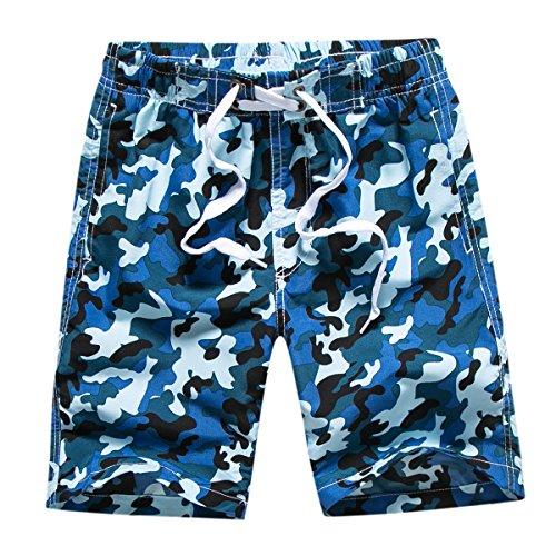 Echinodon Jungen Badehose Badeshorts Camouflage Sweatshorts Urlaub Strand-Shorts Blau M