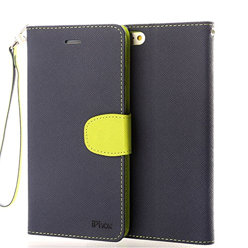 Price comparison product image iPhone 6S Leather Case, iPhone 6 Leather Case,  IPHOX Premium Folio Leather Wallet Case with [Kickstand] [Card Slots] [Magnetic Closure] [Hand Strap] Flip Notebook Cover Case for iPhone 6 / 6S -BU / GR