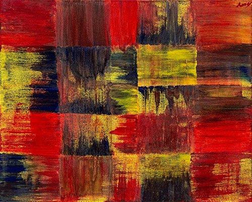 Feeling at Home LEINWANDDRUCKE-Bild-MIT-Rahmen.cm_47_X_60-Seungah-Seo-Abstrakt-Kunstdruck-auf-Gerahmte-Leinwand-Rot,-Gelb,-Schwarz-Abstrakt