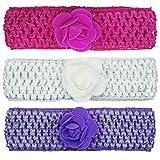 Crochet Cutwork Flower Baby Headband (Pink, White, Purple) 3 Pcs Set