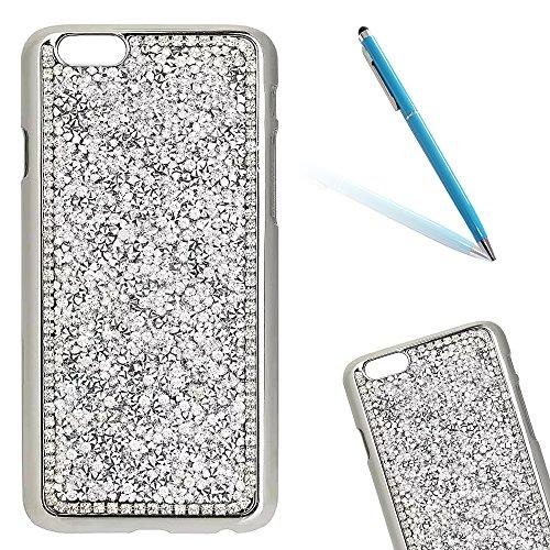 """iPhone 5s Hülle, iPhone SE Kristall Motiv Handytasche, Bling Glitzer Diamant Series CLTPY 3D Kreativ Überzug Hartplastik Schutzfall für 4.0"""" Apple iPhone 5/5s/SE + 1 x Stift - Rosa Silber"""