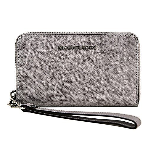 Michael Kors - Borsa Jet Set Travel Flat multifunzione da donna con cover per smartphone, porta carte e documenti, taglia unica Dove/Silver