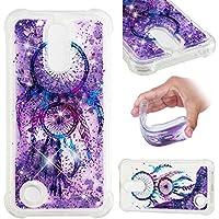 SHYHONG Kompatibel LG K10 2017 Hülle+5D gehärtetem Glas Dynamischer Treibsand Transparent TPU Silikon Handyhülle Vier Eckluftkissen Schutzhülle Anti-Shock Bumper Cover(Glocke1)