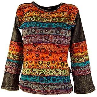 Guru-Shop Goa Langarmshirt Stonewash 1, Damen, Schwarz, Baumwolle, Size:M (38), Pullover, Longsleeves & Sweatshirts Alternative Bekleidung
