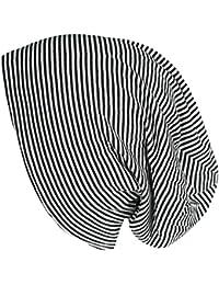 Mevina Beanie Streifen Muster Long Beanie gestreift Mütze aus Baumwolle Stripes Long Slouch in vielen Farben