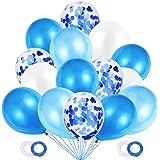 JOJOR Palloncini Azzurri Coriandoli, 60 Pezzi Palloncini Compleanno, Palloncini Blu Perlati per Decorazioni Festa Nascita Bam