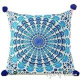 Eyes of India 16' azul turquesa Decorativo mandala Sofá funda Manta Cojín Boho bohemio de colores Indio