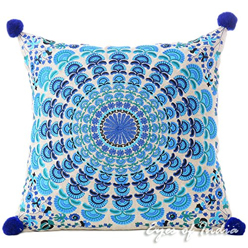 Eyes of India 16' azul turquesa Decorativo mandala Sofá funda Manta Cojín Boho bohemio de colores Indio