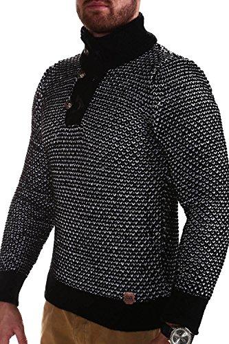 Tazzio Strickpullover mit Knopfleiste Pullover 15-463 Schwarz
