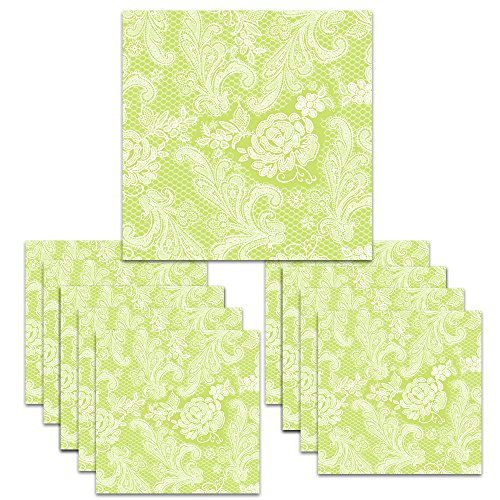 150 Servietten Lace Royal embossed pastel lime white 33 x 33 cm ppd 007882 -
