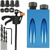 Pocket Hole Jig Kit,15 stuks Boor Houtbewerking Pocket Gat Jig, 15 ° Houtbewerking Schuine Boor Gids Locator met 6/8/10 mm Bo