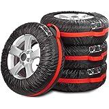 Navaris Autobandtassenset - voor 13-17 inch autobanden - met bandafdruk en handvat - 4x bandenzak in zwart rood