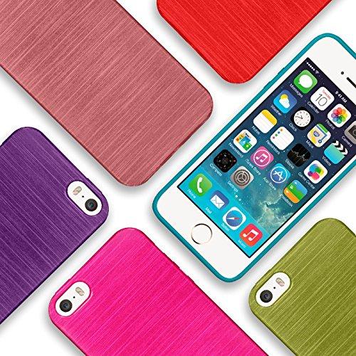iPhone 4S , 4 Silikon Hülle, Conie Mobile Brushed Case Schlanke Schutzhülle TPU Handyhülle Backcover Rückschale in Schwarz Blau