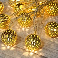 Betus 10Ft 20 LED Moroccan globe LED Fairy String Lights - Battery Powered Party Hanging Waterproof Lights Decor for Christmas, Garden, Porch, Patio, Indoor & Wedding (Warm White)
