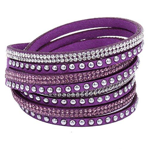 Morella Damen Armband Strass Glitzer Wickelarmband lila