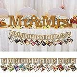 3,6m Partykette für 12 Fotos * 50 - HAPPY YEARS * in Sparkling Gold als Deko zum 50. Geburtstag, Goldene Hochzeit oder Jubiläum // Partydeko Foto-Girlande Flag Banner