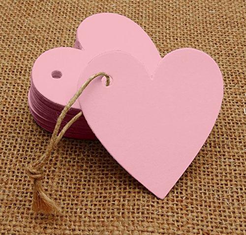 100 Stück Herzform Blank Cardstock Tags Bonbonniere Hochzeitsfeier Geschenk Tag Mit Kostenlosen Natürlichen Jute Twine - Farben Erhältlich -