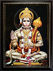 Glowing Sri Hanuman- wall hanging frame with Dark glowing light illuminating technology
