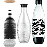 Grunda 35 cm flessenborstel, compatibel met SodaStream glazen fles, krasvrije flessenreiniger, borstel lost hardnekkig vuil o
