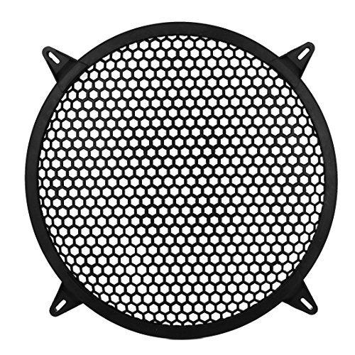 Dia-grills (Water & Wood Auto 30,5cm Dia Kunststoff Mesh Design Tieftöner Cover Lautsprecher Grill schwarz mit Auto Reinigungstuch)