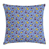 KLYDH Yellow and Blue Throw Pillow Cushion Cover, Swimming Fishes Aquarium with Bubbles Underwater Wildlife Pattern, Decorative Square Accent Pillow Case, 18 X 18 inches, Purple Yellow Blue