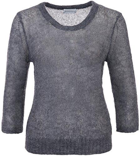 Delicatelove Damen Pullover Mohair Anthrazit, Größe XL