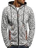 OZONEE Herren Kapuzenpullover Sweatshirt Langarmshirt Sweatjacke Pullover Aufdruck Pulli J.STYLE DD97 L GRAU