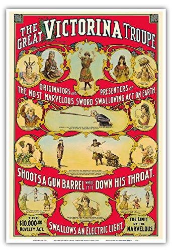 Pacifica Island Art Die großartige Victorina Truppe - Einzigartige Zauberkunst Wanderausstellung - Vintage Retro Karneval Plakat Poster c.1905 - Kunstdruck - 33cm x 48cm (1905 Poster)