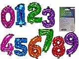 adlerkids Farbige Folien-Luftballons Zahlen 6, ca. 40 cm, wiederbefüllbar,