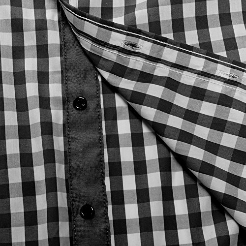 Kuson Herren Kariert Hemd Slim Fit Bügelleicht Doppelfarbig Hemden Karo Hemd Schwarz