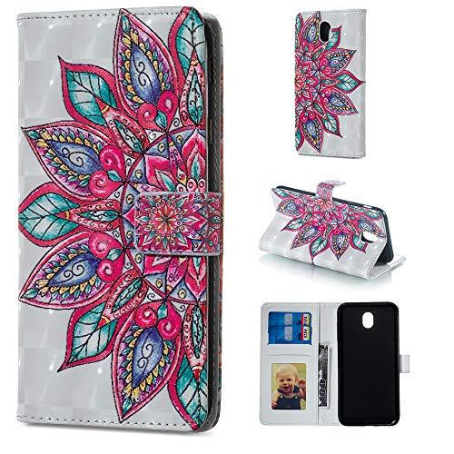Artfeel Portefeuille Coque pour Samsung Galaxy J3 2017/J330,Coloré 3D Peinture Motif en Cuir à Rabat Étui avec Porte-Carte,Style Livre Fermeture Magnétique Support Housse-Fleur de Mandala