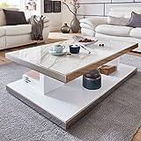 Couchtisch mit Marmorplatte Modern Chrom weiß matt Glasgow 120x70x36cm Edelstahl Designer Tisch