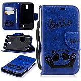 Alfort Coque Nokia 1, Housse Nokia 1 Fermeture Magnétique avec Fentes pour Cartes Fonction de Support Motif Panda (Bleu)