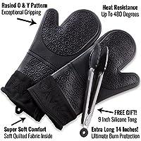 Juego de guantes de silicona para horno de color negro y juego de regalo de 22,86 cm