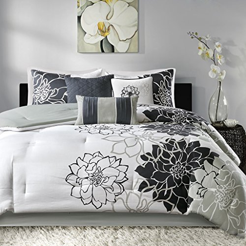 Madison Park Brianna Schwarz Baumwolle Satin Printed 7 Piece Tröster Set King