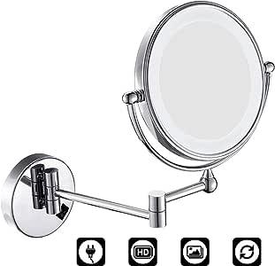 Specchietti da Trucco a Parete Bilaterali a LED Cromato in Metallo Lente dIngrandimento 10x e Specchio Piatto CLIOY Specchio Ingranditore con Luce LED