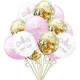 Party Propz Unicorn Theme Birthday Balloons - 15Pcs For Unicorn Theme Birthday Decorations / Metallic Confetti Balloon For Bi