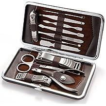 LUPO Set de 12 Pzs. Para Manicura y Pedicura – Cuidado de Uñas Profesional: Cortaúñas, Pinzas, Kit de Cutículas y Estuche de Viaje