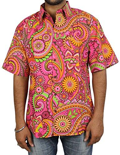 che Gedrückt, Hawaiian Print Strand-Shirt Aus Baumwolle Für Männer (Hawaiian Mann Kostüm)