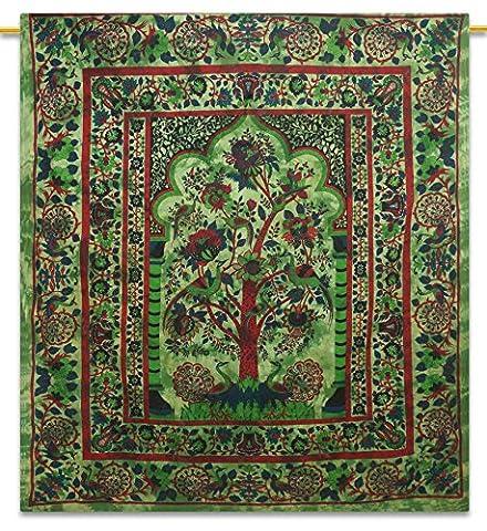 Tree Of Life Indischen Dekor Werfen Cotton Tapestry Königin Grün Wandbehang 92X82 Zoll