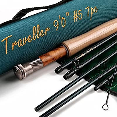 MAXCATCH for Traveler 7-piece Fly Rod IM10 Carbon Travel Rod Fly Fishing with Cordura Tube(Size:5/6/8 wt) by Maxcatch