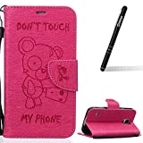 Galaxy S5 Hülle Rosa,Slynmax Bär Flip Tasche Schutzhülle für Samsung Galaxy S5 / S5 Neo Wallet Case Leder Klapphülle Lederhülle Bumper Handyhülle Stand Kartenfächer Magnetverschluss Handytasche