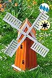 Windmühle aus Holz classic, Designer-Gartenwindmühle 100 cm, einstöckig KLASSIK MIT BALKON-Rand ECK100-grau-MS Fenster, voll funktionstüchtig,schöne Details, HELLGRAU Fensterkreuz Deko-Windmühlen Outdoor, Windfahne / Windrad komplett mit Solar, Solarbeleuchtung DOPPEL-SOLAR LICHT 1 m groß grau anthrazit hell, Flügel - Leisten grauer Korpus unten, für Innen- und Außenbereich, Balkon, Garten und Terrasse, wunderschöne Gartenzierde