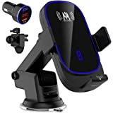 KKM Wireless Car Charger, 15W Qi Fast Charging Auto-Clamping Car Charger Mount, Air Vent Dashboard Car Phone holder for iPhon