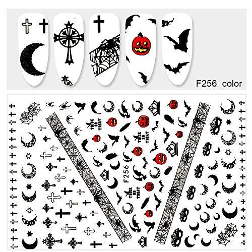 r 1 Nagelapplikation Halloween Schädel Kürbis Geist 3D Design Nail Art Dekoration Klebepaste Papier ()