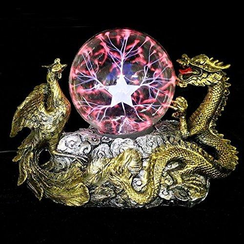 Bazaar Dragón base de Phoenix bola de plasma de oro mágica esfera de la iluminación de la lámpara tesla