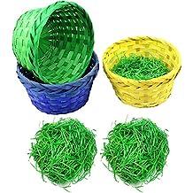 COM-FOUR® 6-teiliges Deko- & Geschenk-Set für Ostern, klassische bunte Bastkörbe in verschiedenen Farben mit grünem Ostergras