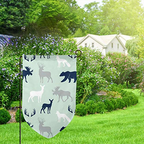 IconSymbol Garden Outdoor Flag Banner Woodl Animals Northern Lights Mint Decorative Weather Resistant Double Stitched 18x12.5 Inch -