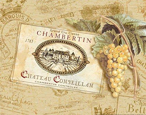 Stampa-su-tela-intelaiata.gladding-pamela-cm_27_x_36-chambertin-etichetta-di-vino-chateau-francese-di-uva-rossa-tan,-quadro-su-tela-fine-art-cucina,-canvas-intelaiato-100%cotone-380gr